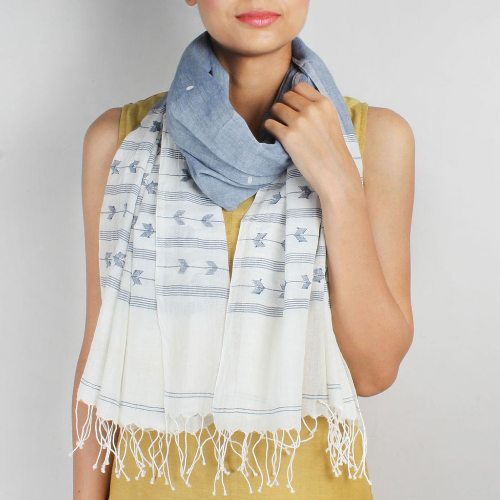 Khadi Handwoven White And Blue Stole With Stripes And Motifs by SSaha