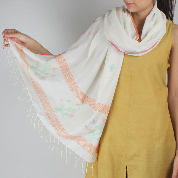 Khadi Handwoven White Stole With Colourful Floral Motifs