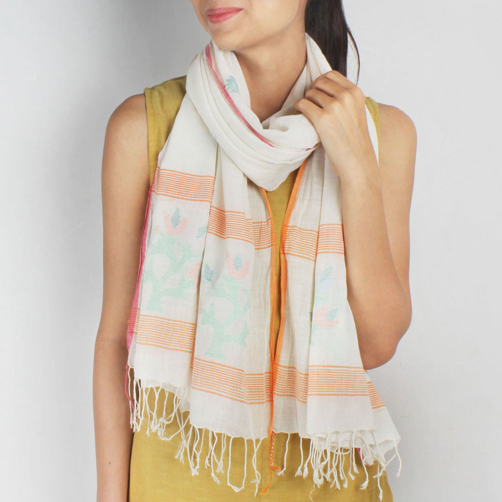 Khadi Handwoven White Stole With Colourful Floral Motifs by SSaha