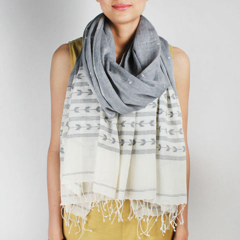 Khadi Handwoven White And Grey Stole With Stripes And Motifs by SSaha