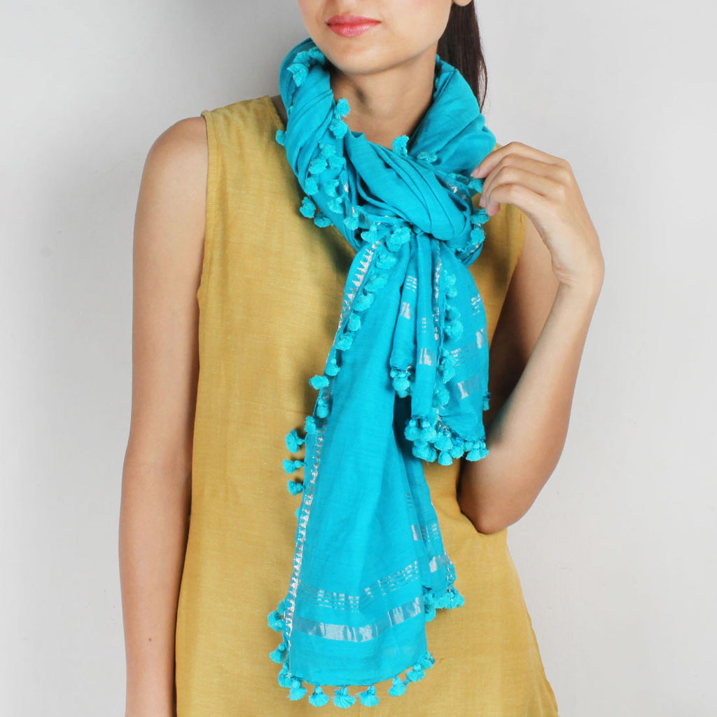 Silk Handwoven Blue Stole With Zari Work by SSaha