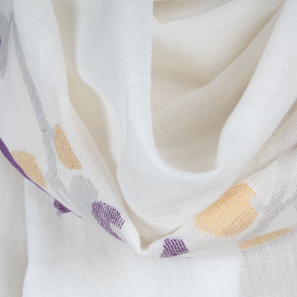 Khadi Handwoven White Stole With Purple & Yellow Motifs