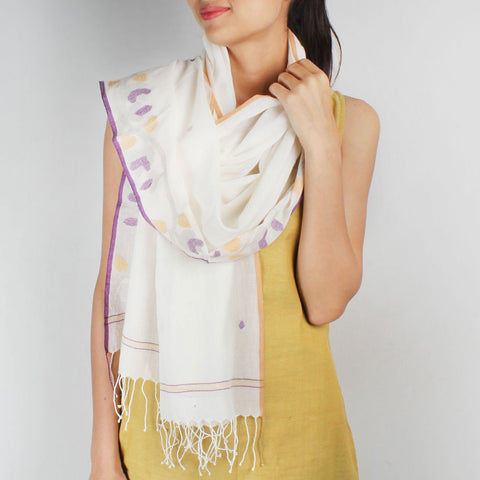 Khadi Handwoven White Stole With Purple & Yellow Motifs by SSaha