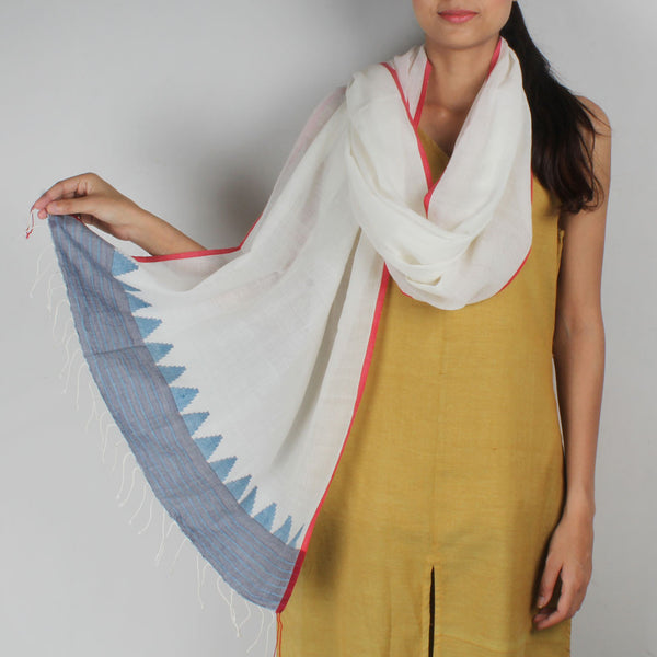 Khadi Handwoven White Stole With Motifs