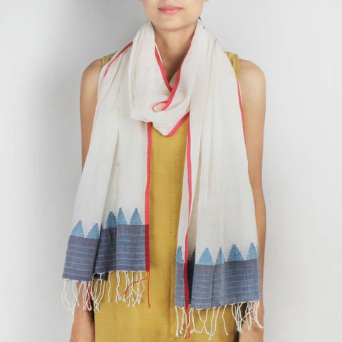 Khadi Handwoven White Stole With Motifs by SSaha