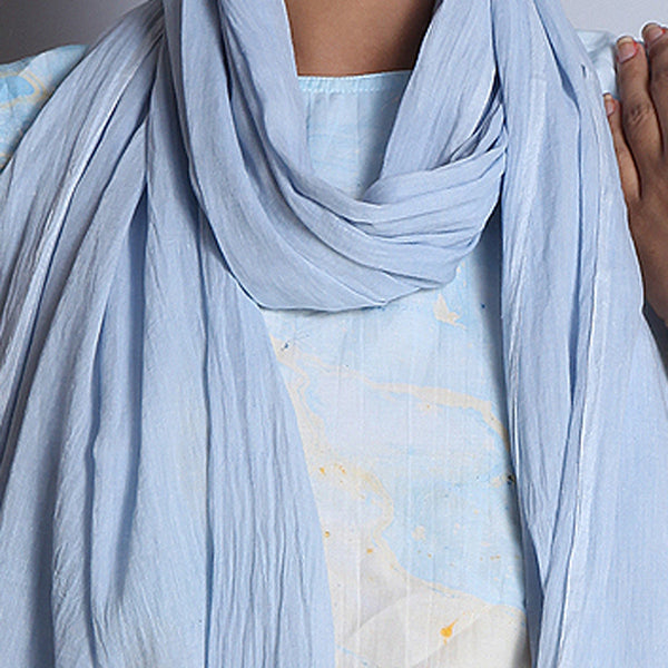 Blue Khadi Cotton Stole With Jamdani Weaves