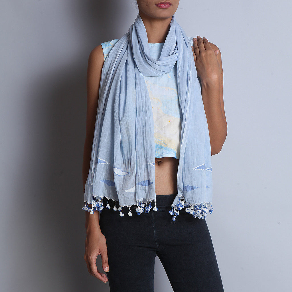 Blue Khadi Cotton Stole With Jamdani Weaves by SSaha