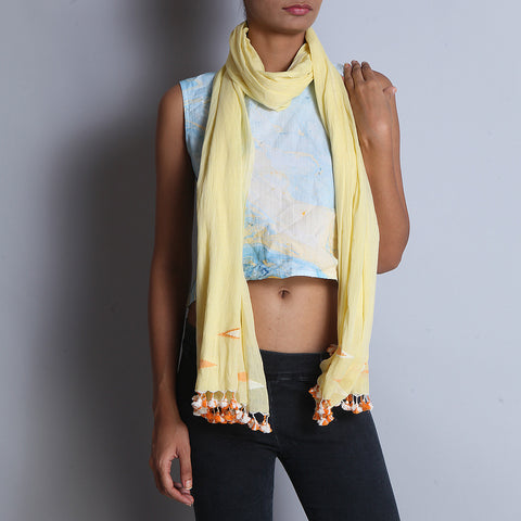Yellow Khadi Cotton Stole With Jamdani Weaves & Tassels by SSaha