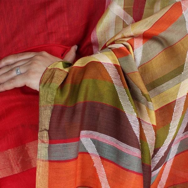 Handwoven Khadi Cotton Red Saree With Golden Border
