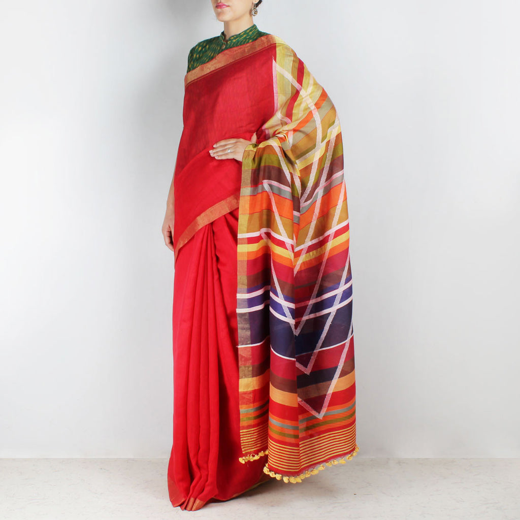 Handwoven Khadi Cotton Red Saree With Golden Border by SSaha