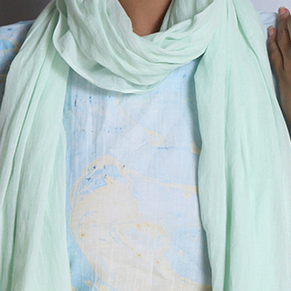 Light Green Khadi Cotton Stole With Jamdani Weaves & Tassels