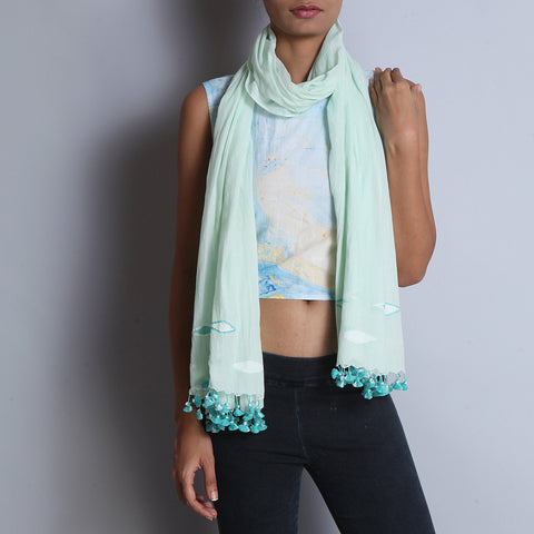 Light Green Khadi Cotton Stole With Jamdani Weaves & Tassels by SSaha