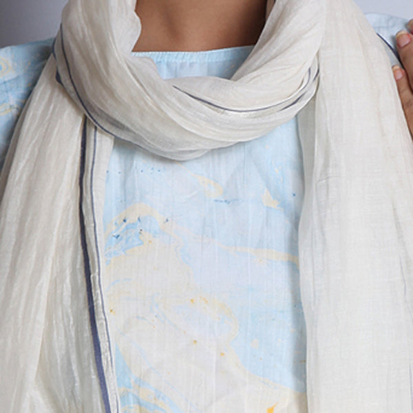 Off White Khadi Silk Stole With Zari & Tassels