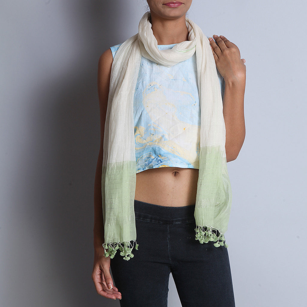 Lime Green Khadi Cotton Stole With Micro Stripes by SSaha
