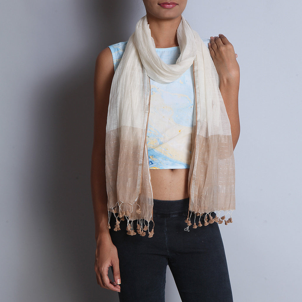 Khadi Silk Off White Stole With Zari & Tassels by SSaha