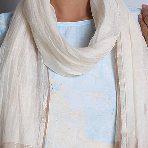 Khadi Silk Off White Stole With Zari & Tassels