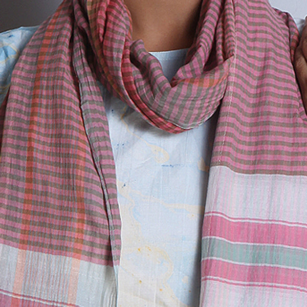 Multicolored Khadi Cotton Stole With Chequed Pattern & Tassels
