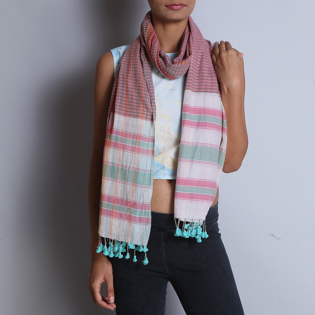 Multicolored Khadi Cotton Stole With Chequed Pattern & Tassels by SSaha