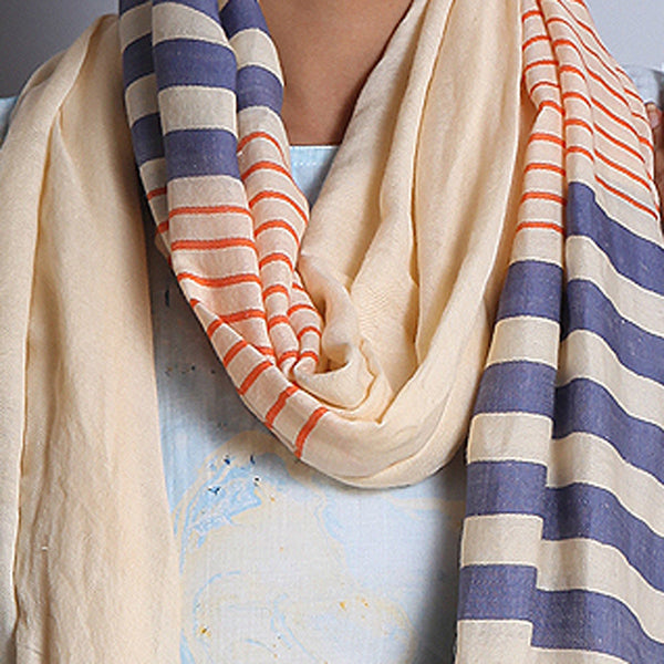 Pale Orange Khadi Wool Stole With Stripes