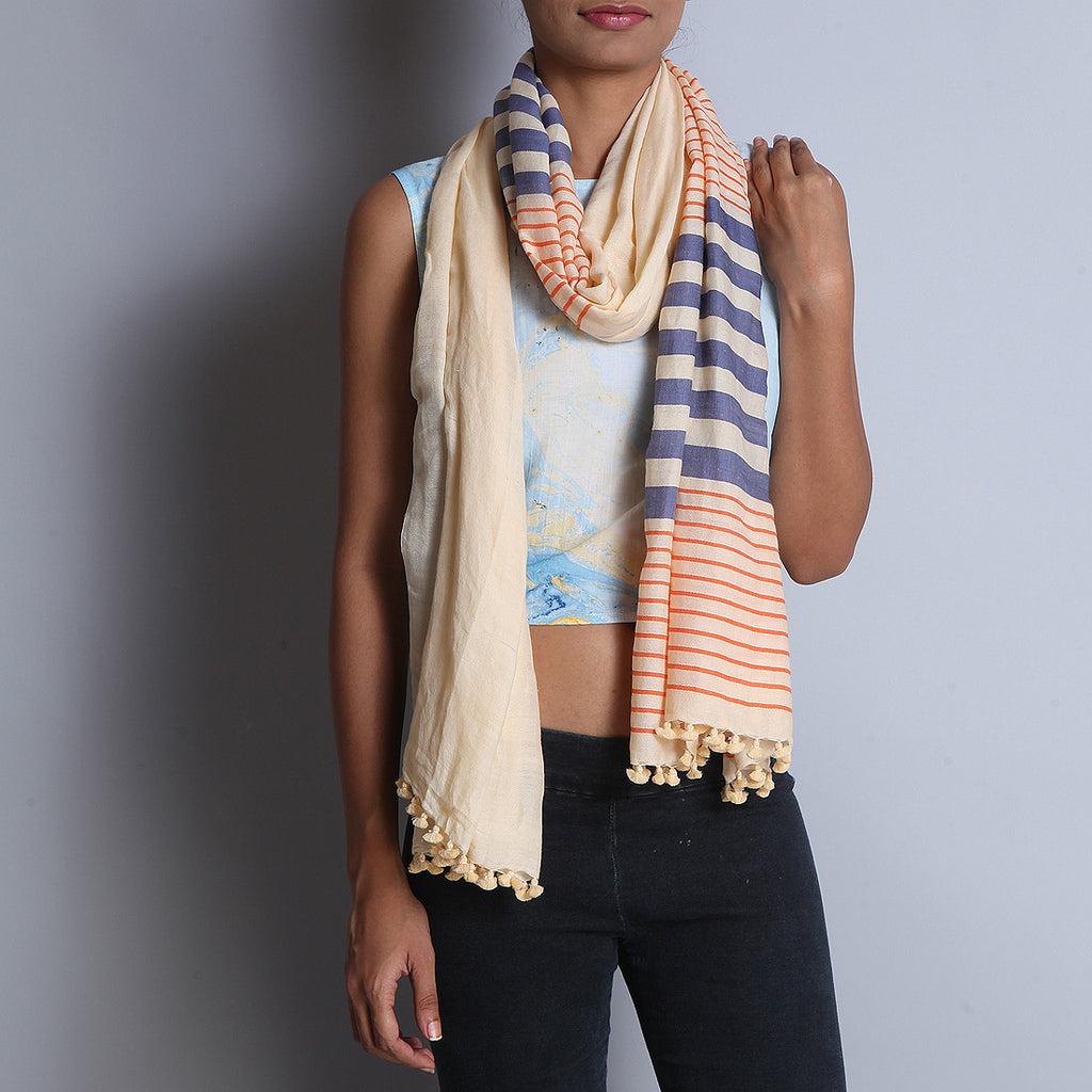 Pale Orange Khadi Wool Stole With Stripes by SSaha