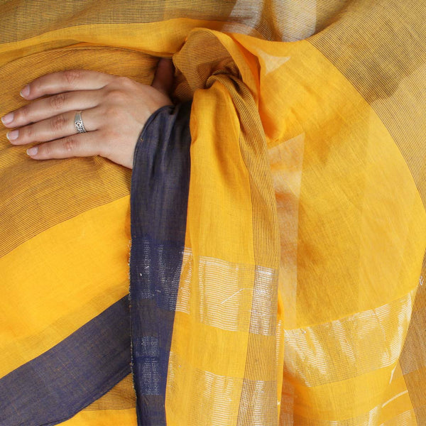 Handwoven Khadi Cotton Yellow Saree With Navy Blue Border