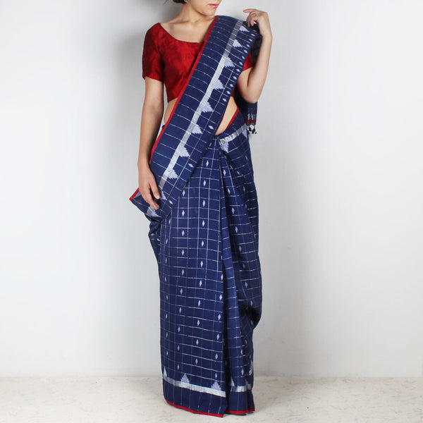 Handwoven Khadi Cotton Indigo Blue Saree With Chequered Motifs