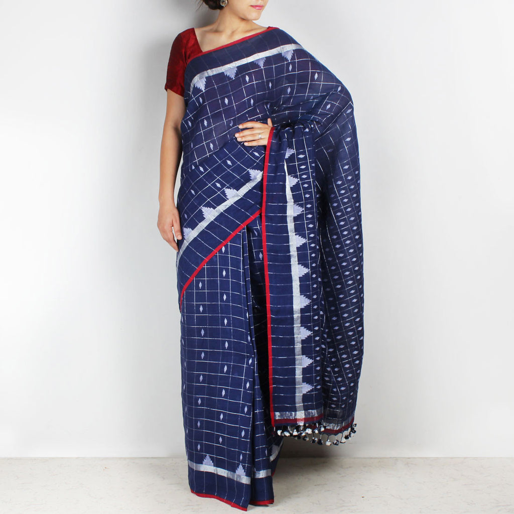 Handwoven Khadi Cotton Indigo Blue Saree With Chequered Motifs by SSaha