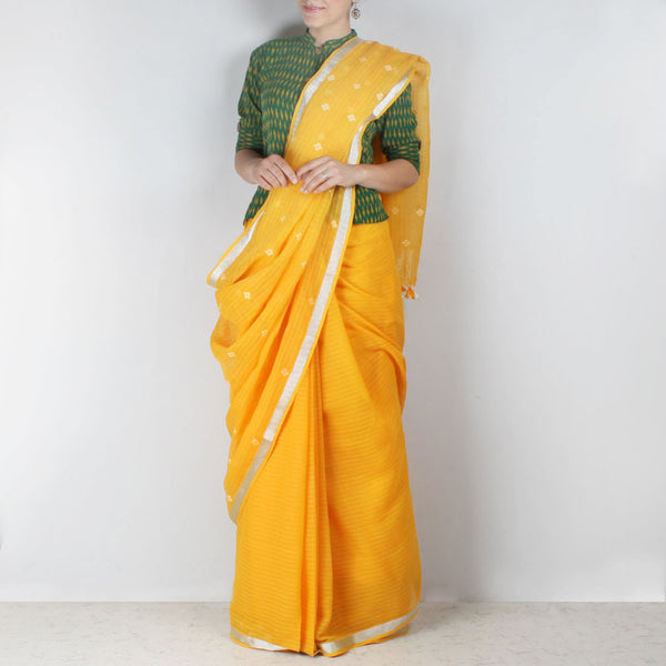 Handwoven Khadi Cotton Yellow Saree With Floral Motifs