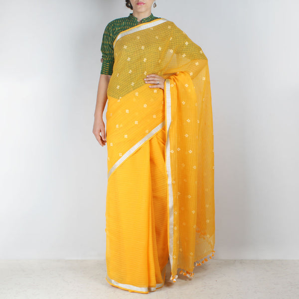 Handwoven Khadi Cotton Yellow Saree With Floral Motifs by SSaha