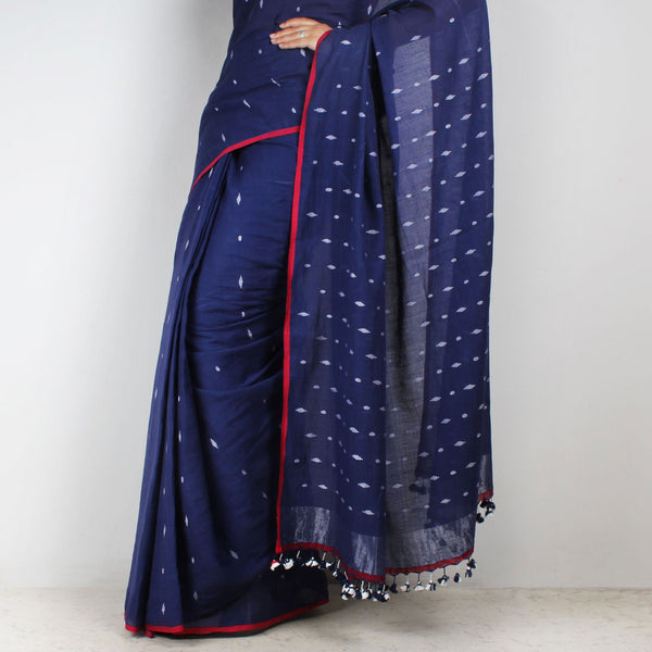Handwoven Khadi Cotton Indigo Blue Saree With Motifs