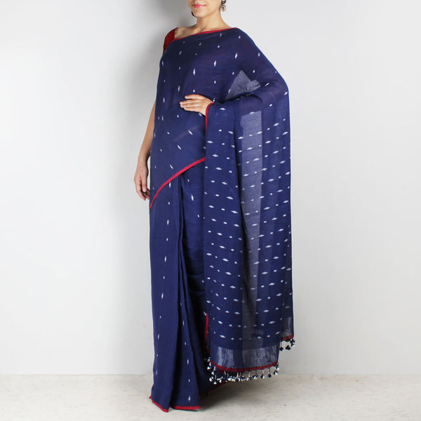 Handwoven Khadi Cotton Indigo Blue Saree With Motifs by SSaha