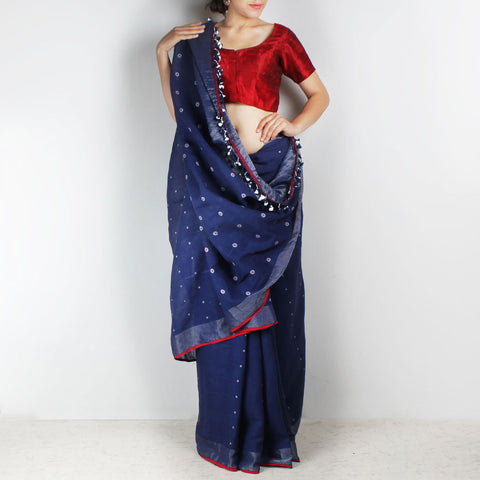 Handwoven Khadi Cotton Indigo Blue Saree With Circular Motifs by SSaha