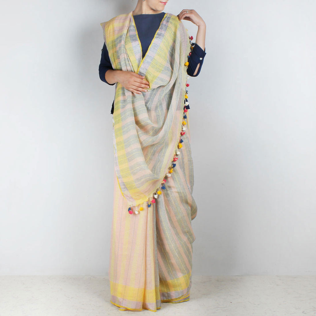 Handwoven Khadi Linen Pink And Yellow Saree by SSaha