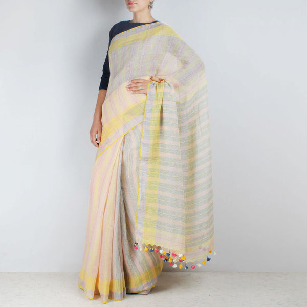 Handwoven Khadi Linen Pink And Yellow Saree