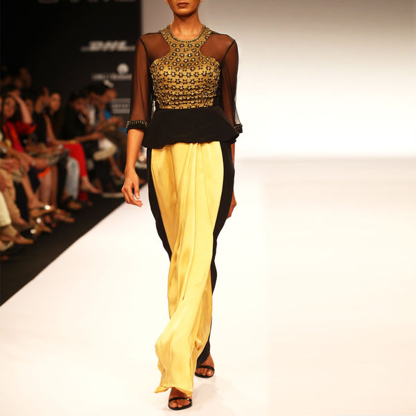 Paneled top with pleated skirt by SOUP by Sougat Paul