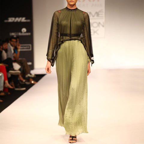 Jumpsuit with emroidered poncho by SOUP by Sougat Paul