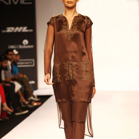 Brown embroidered kurta by SOUP by Sougat Paul