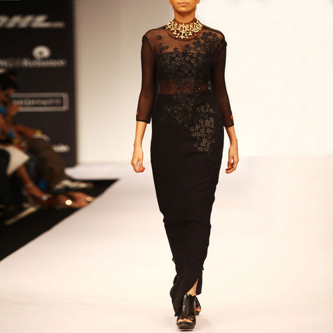 Black Silk Chiffon Dress by SOUP by Sougat Paul