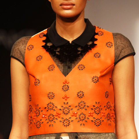Orange leather cropped top by SOUP by Sougat Paul