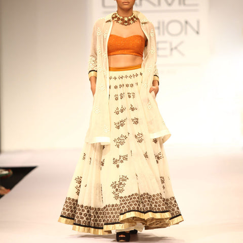 Embroidered bustier with off white lehenga by SOUP by Sougat Paul