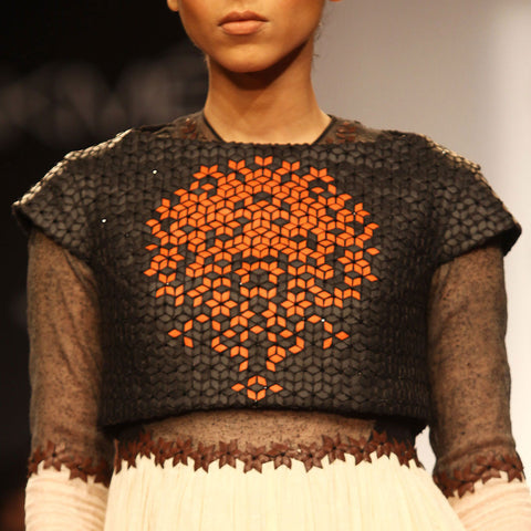 Black leather embroidered crop top by SOUP by Sougat Paul