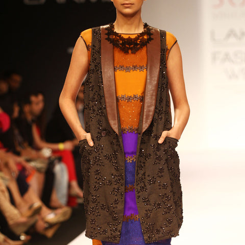 Brown Embroidered Net Jacket by SOUP by Sougat Paul