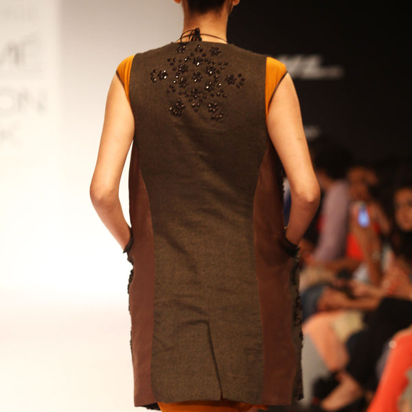 Brown Embroidered Net Jacket