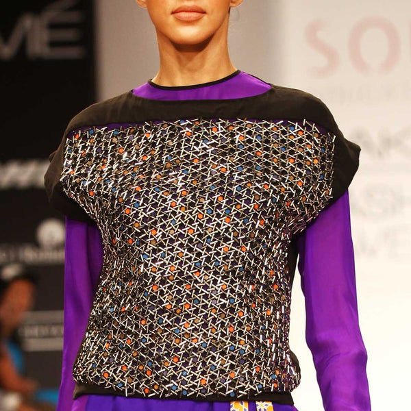 Embellished drop shoulder top by SOUP by Sougat Paul