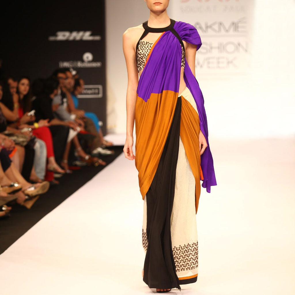 Color Block Saree by SOUP by Sougat Paul