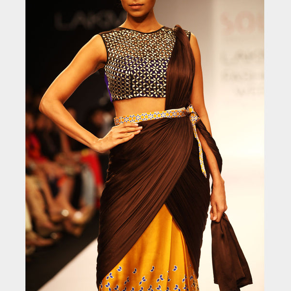 Draped Saree With Printed Skirt
