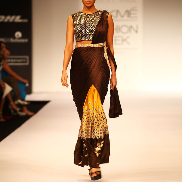 Draped Saree With Printed Skirt by SOUP by Sougat Paul