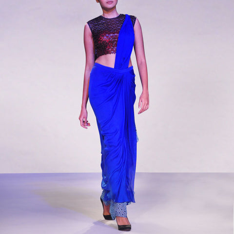Two Coloured Draped Saree With Laser Cut Blouse by SOUP by Sougat Paul