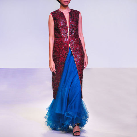 Blue & Red Contrasting Faux Leather Jacket & Organza Skirt Set by SOUP by Sougat Paul