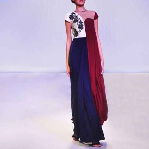Color Block Pleated Saree Gown With Faux Leather Cutwork Embroidery. by SOUP by Sougat Paul